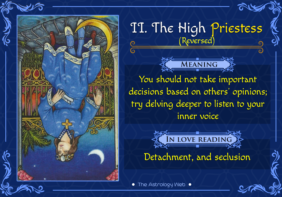 The High Priestess Tarot Card Reversed