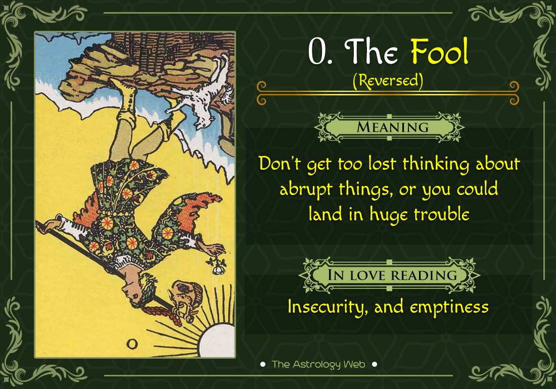 The Fool Tarot Card Reversed