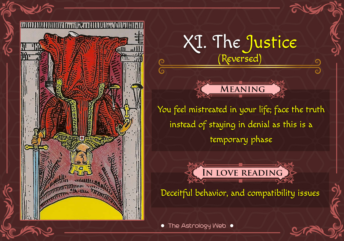 The Justice Tarot Crad Reversed