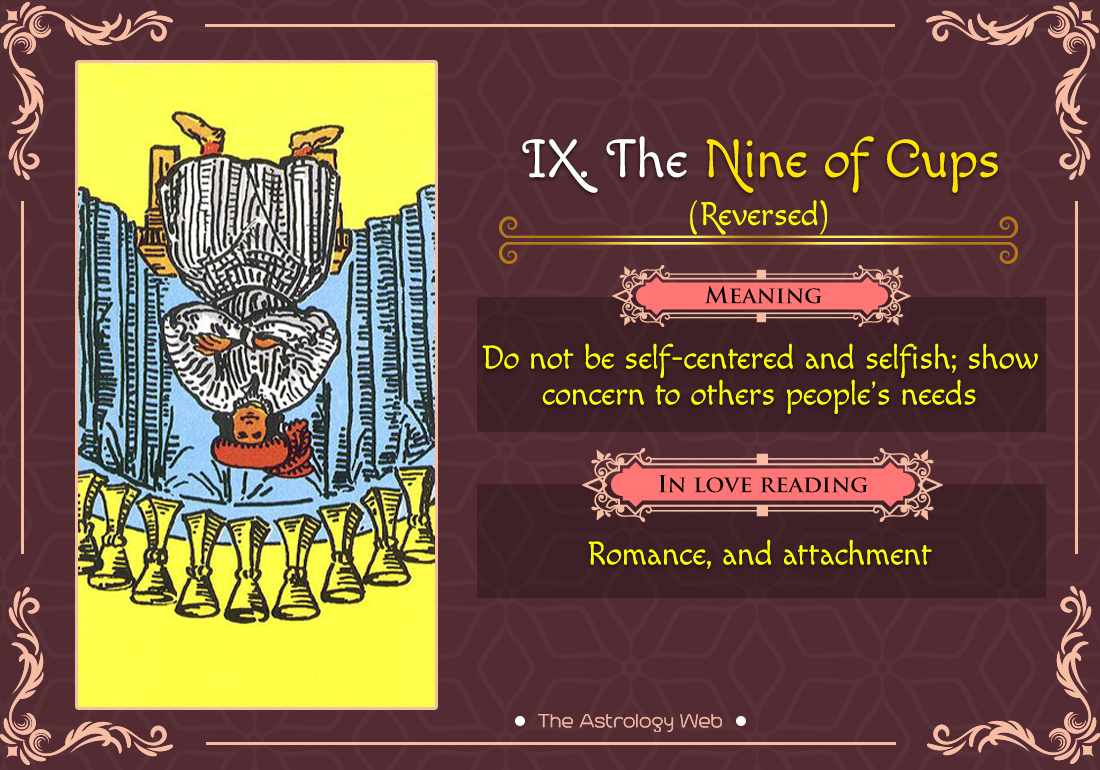 The Nine of Cups Tarot Card Reversed