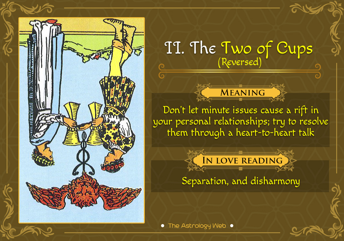 The Two of Cups Tarot Card Reversed