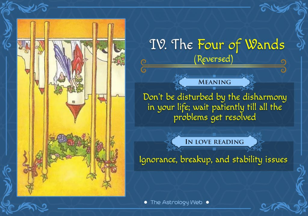 The Four of Wands Reversed